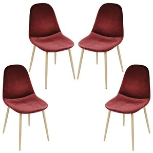 Lot de 4 chaises de salle à manger - Métal imprimé bois - Scandinave - L 43 x P 55 cm - Velours vin rouge - OOBEST