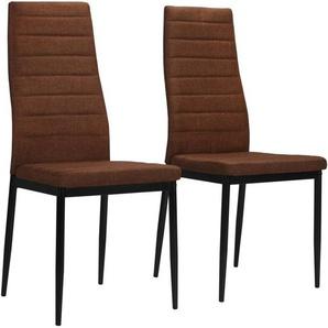 Chaises de salle à manger 2 pcs Marron Tissu - VIDAXL