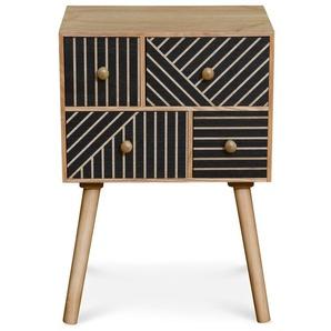 Table de chevet 4 tiroirs Gerald Bois et Noir - Bois / Noir - COTECOSY