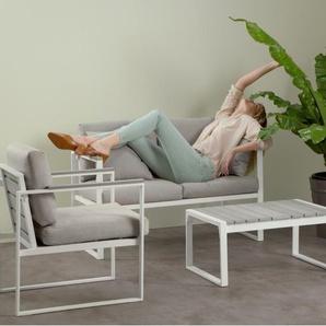 Catania, salon d'extérieur en bois composite polywood, tissu gris et métal blanc