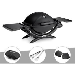 Barbecue gaz Weber Q 1200 Noir + Housse + Kit Ustensile + Plan travail