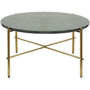 Table basse ronde en marbre vert et métal coloris laiton Pietra