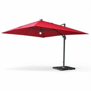 Parasol déporté solaire LED 3x4m Luce Rouge, haut de gamme avec lumière intégrée - ALICES GARDEN