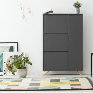 Elona, meuble à chaussures, gris anthracite et laiton