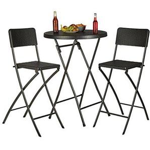 Relaxdays Chaise de bar lot de 2 avec dossier pliante pliable BASTIAN tabouret 78 cm hauteur, noir