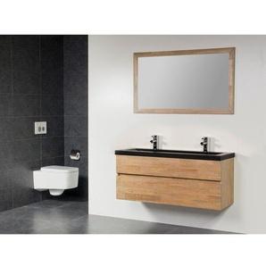 Saniclass Natural Wood Set de meubles de salle de bains 120cm modèle suspendu avec lavabo en pierre naturelle Corestone 2 trous pour robinetterie avec miroir SW21677