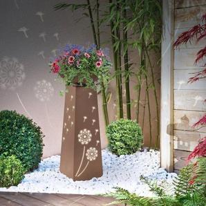 """IDMarket """"Colonne décorative éclairage LED intégré motifs fleurs jardinière pour plantes"""""""