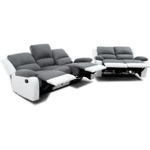 RELAX Ensemble de 2 canapés de relaxation droit 3 + 2 places - Tissu gris et simili blanc - Contemporain - L 190 et 144 x P 93 cm