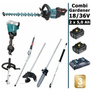 Pack 18/36V Combi Gardener: outil multifonction 36V avec 4 accessoires + taille haie 18V 50cm + 2 batt 5Ah MAKITA DUX60 DUH502