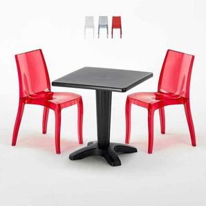 Table Carrée Noire 70x70cm Avec 2 Chaises Colorées Grand Soleil Set Bar Café CRISTAL LIGHT BALCONY | Rouge transparent