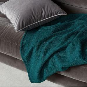 Brigette, couvre-lit en lainage effet bouclettes, 130 x 170 cm, bleu canard et vert émeraude