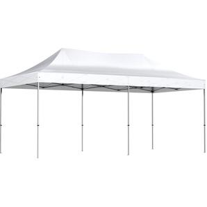 Barnum pliant tonnelle 3x6m Alu 40 polyester 300g/m² pelliculé PVC + sac de transport   BLANC - INTEROUGE