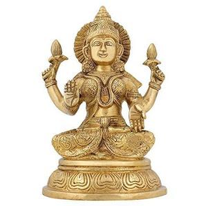 ShalinIndia Lakshmi Déesse de la Richesse, Doré, Taille: 12,7x 10,2x 20,3cm