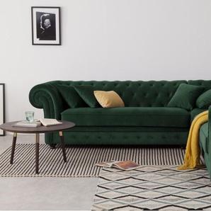 Branagh, canapé d'angle panoramique, velours vert sapin