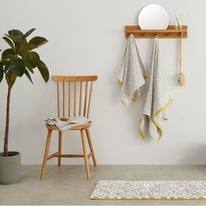 Trio, grand tapis de bain 100% coton, 50x 110 cm, gris et jaune moutarde