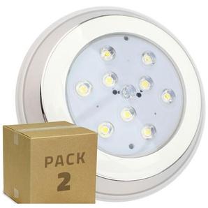 PACK Spot LED Piscine Inox en Saillie 9W (2 Un) Blanc Chaud 3000K - LEDKIA