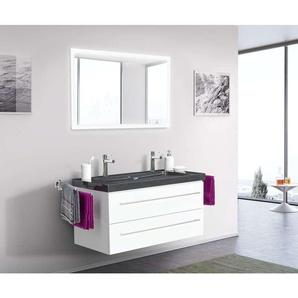 Damo en blanc avec double vasque en granit India Black 100cm & miroir à LED - EMOTION