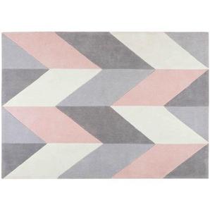 Tapis tufté motifs graphiques gris et roses 140x200