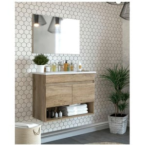 Meuble de salle de bain suspendu 80 cm couleur Nordik avec miroir | Avec lampe Led - Nordik - BAGNO