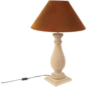 Lampe de table rurale avec velours orange - Burdock Qazqa Rustique Luminaire interieur Cylindre / rond