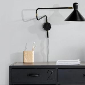 Ogilvy, applique à bras réglable avec prise, noir mat et laiton vintage