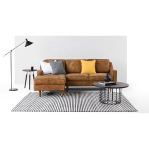 Dallas, canapé d'angle avec méridienne à gauche, cuir de qualité supérieure marron clair