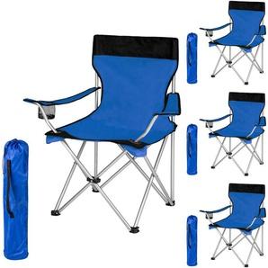 4 Chaises de Camping Pliables avec Porte Boisson et Housse Sac de transport Bleu Noir - TECTAKE
