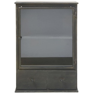Etagère 2 tiroirs en métal noir effet vieilli