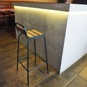 Chaise de bar esprit industriel en métal noir mat et acacia  Factory