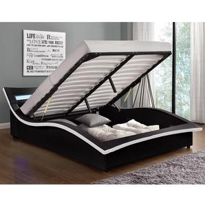 Lit Camden - Structure de lit en simili noir avec coffre et LED intégrées - 160x200 cm