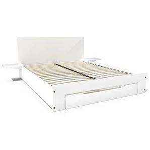 ABC MEUBLES - Lit Happy + tiroirs + chevets Amovibles - 2 Places - HAP - Blanc, 160x200