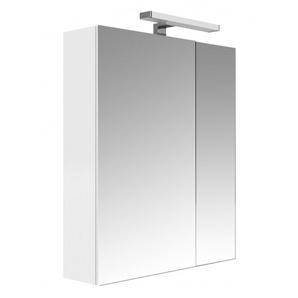 Allibert - Armoire de toilette éclairante 60 cm 2 portes miroirs Blanc brillant prise UTE - JUNO