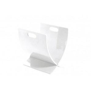 Porte-revue moderne en bois teinté blanc laqué