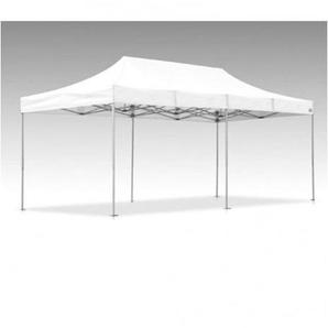 Tente pliante V3S5-Pro PVC blanc - 3 x 6m, Façade de droite 3m Pleine, Façade arrière 6m Avec porte, Façade avant 6m Sans, Façade de gauche 3m Avec jupe US - VITABRI