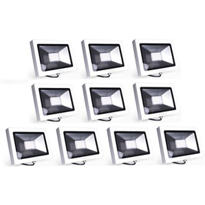 10×Auralum 50W Projecteur LED Ultraléger Spot LED IP65 3700LM Lumière Extérieur et Intérieur Blanc Neutre 4000-4500K avec Coque Blanche