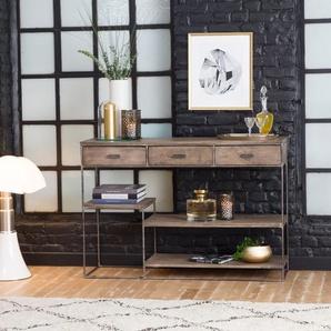 Console asymétrique design bois patine marron métal