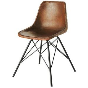 Chaise indus en cuir marron Austerlitz