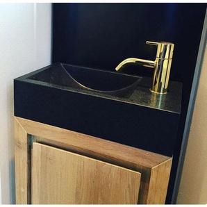 Forzalaqua Gela Armoire sous lavabo WC 39.5x21.5x59cm avec 1 porte et 1 planche sans poignées Smoke 8001042