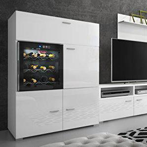 Comfort Home Innovation - Ensemble de Meubles - Ensemble de séjour Contemporain Cave à Vin La Sommeliere. Blanc Laqué Blanc Mate, Dimensions : 295x175x57/40 cm de Profondeur.