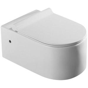 WC Suspendu Ovale - C�ramique Blanc - Avec Abattant - Sans Bride - 57x36 cm - Natural - RUE DU BAIN