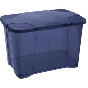 EDA PLASTIQUE Boîte de rangement ClipBox 60 L avec roulette - Bleu couvercle avec charnière - 60 x 40 x 40,7 cm