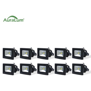 10×Auralum 10W Projecteur LED IP65 Éclairage Extérieur et Intérieur 800-850LM Spot LED Blanc Foird 6000K Coque Noir