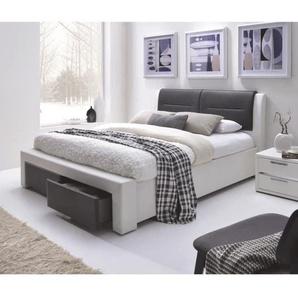 IMAGINA Lit adulte contemporain simili blanc et noir - Sommier inclus - l 160 x L 200 cm