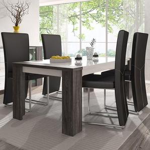Table blanche et couleur chêne gris 180 cm moderne AMANDE
