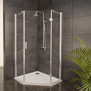 Adema Glass Cabine de douche Pentagone avec 1 porte pivotante 90x90x204cm vitre claire avec receveur de douche 4cm
