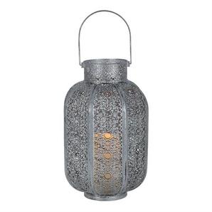 AGADIR-Lanterne LED Métal à piles H34cm Argenté Best Season