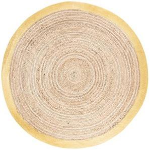 Tapis rond tressé en jute et coton contour doré D180