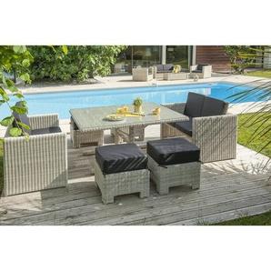Salon de jardin encastrable OCEANE 8 places en r_sine tress_e et plateau verre - CREME - DCB GARDEN