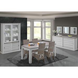 Salle à manger complète avec chaises couleur chêne clair et marron EVINA