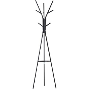 Porte-manteau trépied design contemporain branches étagère + 9 patères dim. 45L x 45l x 180H cm métal noir - HOMCOM